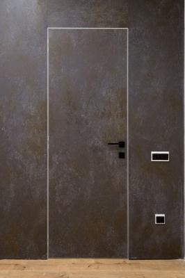 Комплект скрытой двери кромка матовый алюминий с 4-х сторон